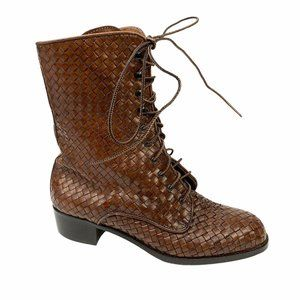 The J. Peterman Company Woven Brown Leather Sz 6.5